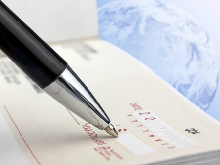 Closeup of Pen on the Cheque