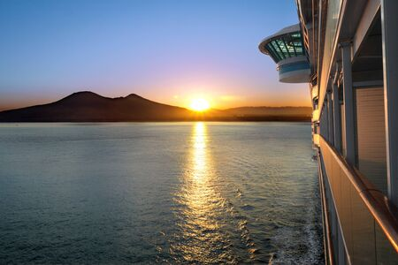 luxury liner: Sunset from a luxury cruise liner Stock Photo