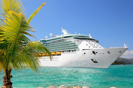 caribbean cruise: Luxury Cruise Ship Sailing from Port