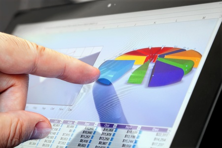 Closeup of Finger Touching Screen with Financial Chart on Tablet-PC  版權商用圖片