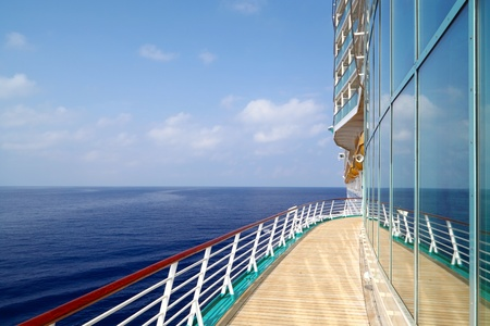 balcony: Luxury Cruise Liner Sails in Ocean