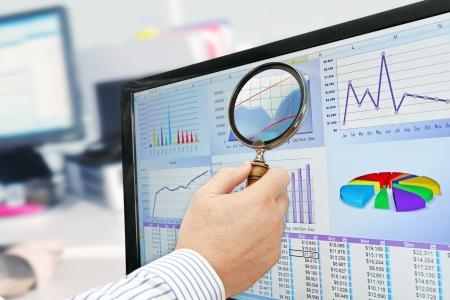 Analyzing Data on Computer photo