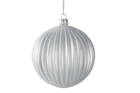silvery: Christmas Tree Ornament Hanging on White Background