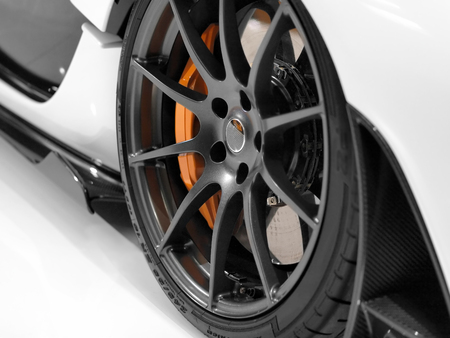 Close up of a sports cars alloy wheel  Stock Photo