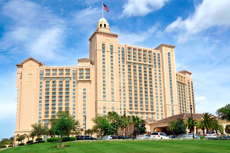 Orlando, Florida, USA - April 22, 2014  The JW Marriott Orlando hotel is part of the gorgeous Grande Lakes luxury complex including a dozen or so restaurants, convention center as well as the Greg Norman-designed 18-hole golf course