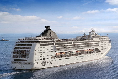 accommodate: Cruise Ship. Lisbon, Portugal - October 02, 2014: Cruise Line MSC, cruise ship MSC Opera sails from port Lisbon in Portugal  on October 02, 2014. She can accommodate 2,055 passengers in 856 cabins. Editorial