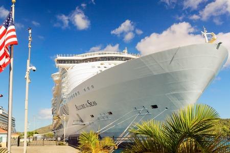 caribbean cruise: Nassau Bahamas  April 15 2015: Royal Caribbean cruise ship Allure of the Seas  docked at port of Nassau Bahamas on April 15 2015. Its the largest passenger ship ever built Editorial