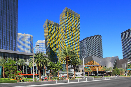 financed: Las Vegas, NV, USA - October 30, 2015: Famous Las Vegas Boulevard on October 30, 2015 in Las Vegas . CityCenter is the largest privately financed development in the United States. Vdara, Aria, Mandarin Oriental, and The Crystals opened in December 2009.
