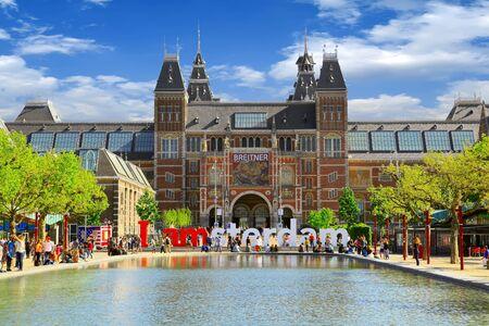 AMSTERDAM - MAY 13, 2016: Rijksmuseum museum is a popular touristic destination