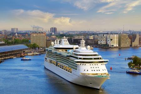 serenade: Amsterdam, Netherlands - MAY 13, 2016: Royal Caribbean cruise ship Serenade of the Seas heading to cruise terminal. Editorial