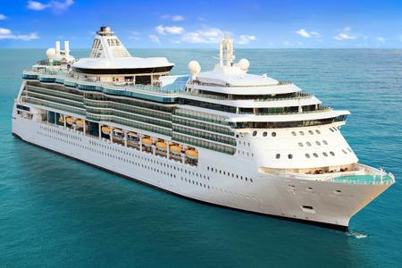 Luxury Cruise Ship Sailing to Port