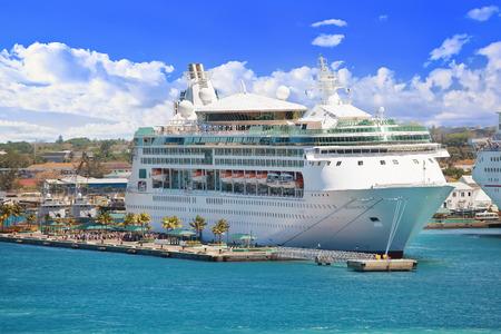 NASSAU, BAHAMAS - APRIL 13, 2015: Royal Caribbean cruise ship Grandeur of the Seas docked at port on the sunny day