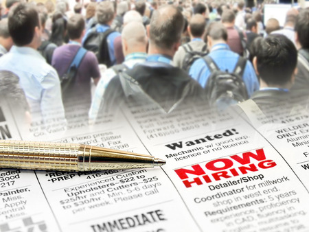Newspaper Career Opportunity Ad with pen on people background Stock Photo