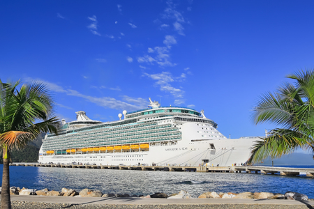 navigator: LABADEE, HAITI - APRIL 16, 2017: Royal Caribbean cruise ship Navigator of the Seas docked at the private port of Labadee in the Caribbean Island of Haiti