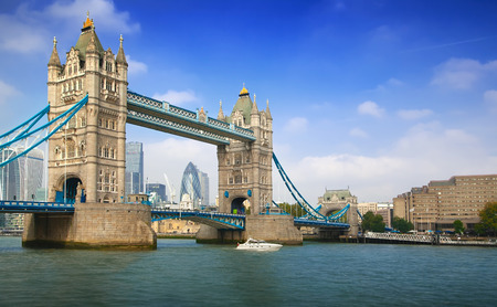 Famous London Tower Bridge over the River Thames on a sunny day
