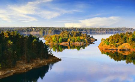 Archipelag Sztokholmski nad Bałtykiem rano Zdjęcie Seryjne
