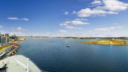 Panoramic view of Halifax Harbor with lighthouse from cruise ship 版權商用圖片
