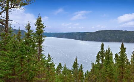 Panoramic view of the river Saguenay from Saguenay Fjord National park, Quebec, Canada.