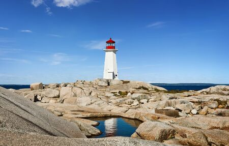 Panorama of Nova Scotia's iconic Peggys Cove Lighthouse on a sunny day