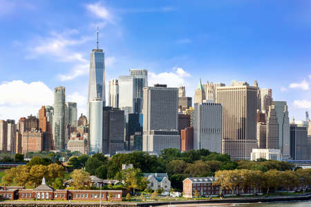 New York City panorama from the bay with Governors island and Manhattan Skyline