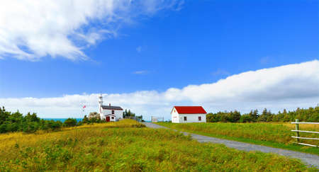 Panorama of Lobster Cove Head Lighthouse in Gros Morne National Park, Newfoundland