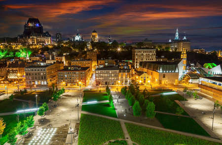 Panorama of Quebec City  with illuminated streets in the evening