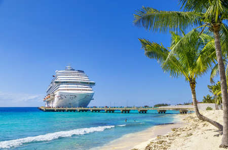 Grand Turk, Turks and Caicos Islands - MARCH 29, 2019: Cruise ship Carnival Magic docked at port Grand Turk on sunny day