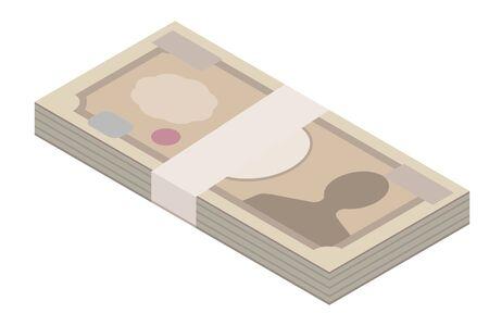 Very much money. Money at 1000000 yen (Japanese money)  イラスト・ベクター素材