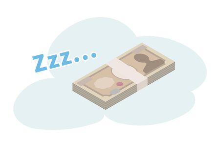 Money at 10000 yen is sleeping, so its wasteful (Japanese money)  イラスト・ベクター素材