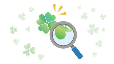 four-leaf clover is fiound.hope,wish and discovery image. Illustration