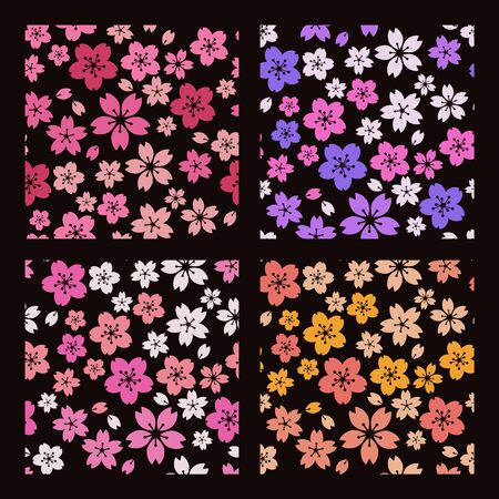 psychedelically, cherry blossoms by night,Retro  イラスト・ベクター素材