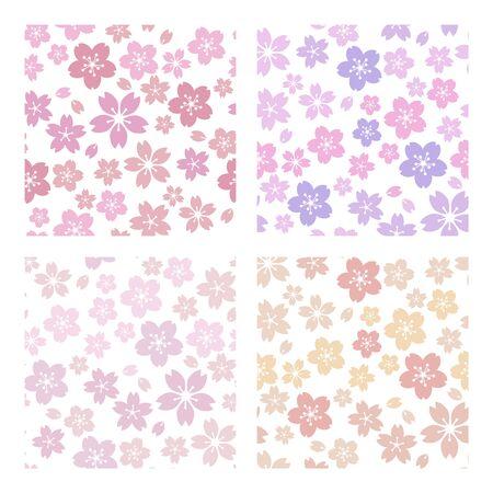 Moss phlox flower pattern 4 color set soft, sweet, romantic Çizim