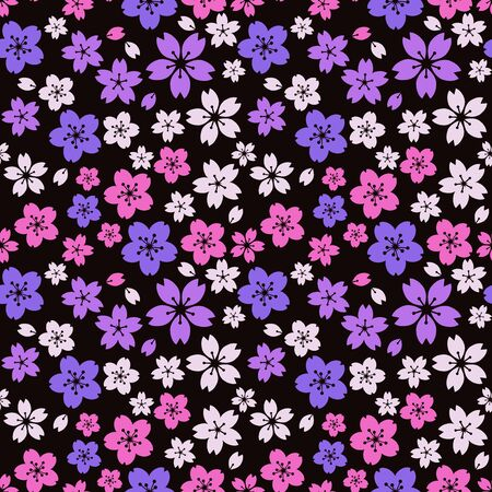 Moss phlox flower pattern.(purple,Light pink,white)psychedelically, cherry blossoms by night,Retro