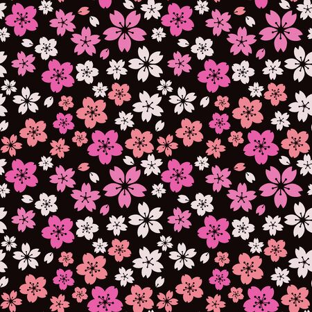 Moss phlox flower pattern.(pink, white)psychedelically, cherry blossoms by night,Retro