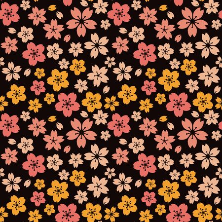 Moss phlox flower pattern.(Yellow, orange)psychedelically, cherry blossoms by night,Retro