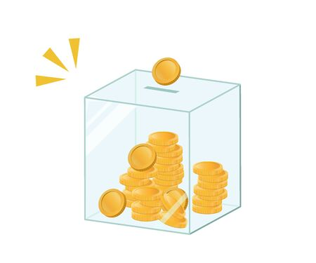 Money box, donation box, etc.The box in which money is inserted. Ilustração