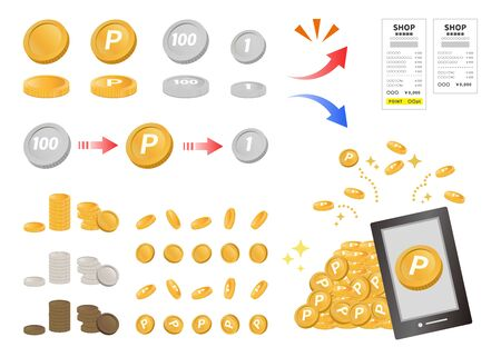 Image of point service. I get this and use it. Image of Japanese money and point circumstances.