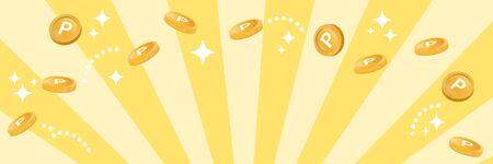 Coin and point service. Gold coins are flying. The image happy wonderfully. (oblong banner)