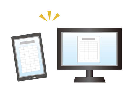 Image illustration of managing data on a computer and smartphone. Paperless.