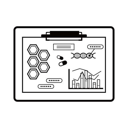 Clipboard. Illustrations of chemical, clinical and bio images. Black and white line drawing.