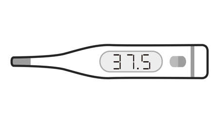 Illustration of thermometer. 37.5°C low fever, Black and white, monotone.