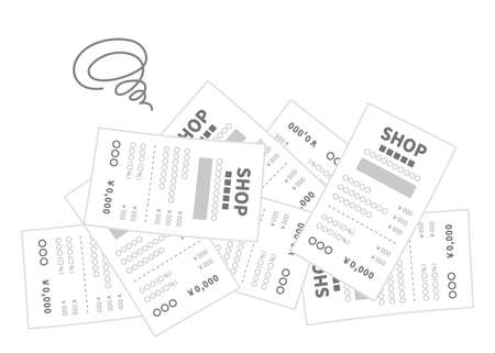 A pile of receipts. An image illustration of distress.