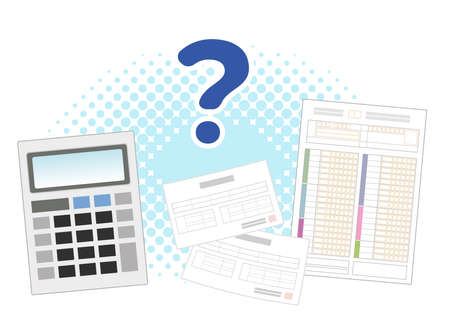 Money questions about medical expenses . Tax returns and calculators. Image Illustration.