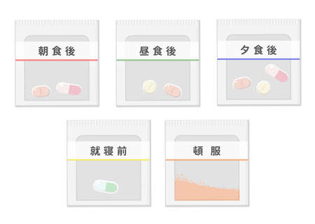 One package of medicines Image illustration (5 types) It says
