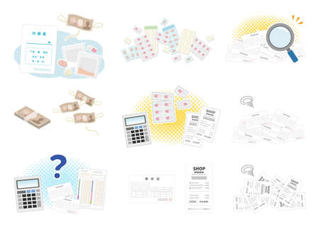 """Image set about medicine and money. It says """"Internal medicine,receipt and Self-medication support"""" in Japanese."""