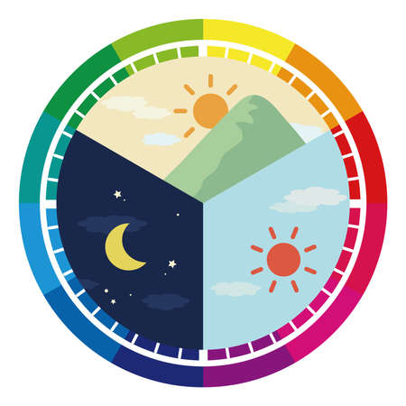 Illustration of morning, noon and night, 24 hours. (rainbow color)