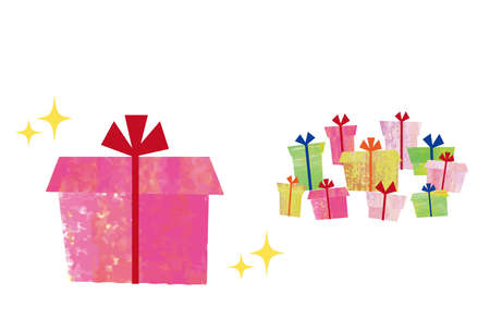 Lots of gifts. Illustration with collage-like textures.