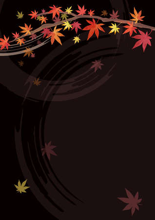 Autumn Background Material. Lacquer. Red leaves, Japanese maple branches. Decoration at the top. Black background (vertically long) Illustration