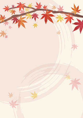 Autumn Backgrounds. Red leaves, maple branches. Decoration on the top. Light Beige and light pink Background (vertically long) Illustration