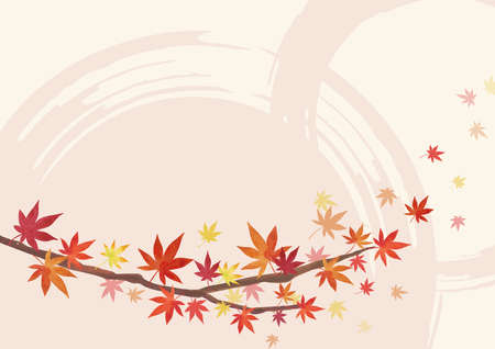 Autumn Backgrounds. Red leaves, maple branches. Decoration on the bottom. Light Beige and light pink Background (lateral length) Illustration